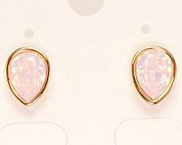 """Серьги ХР Позолота 18K с кристаллами Swarovski гвоздики """"Розовый Опал Грушевидный Кристалл в Глухой Оправе"""""""