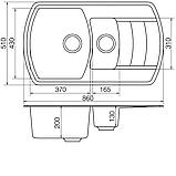 Гранітна мийка VANKOR Norton NMP 04.86 (860х510 мм.) + змішувач і доставка в подарунок!, фото 2