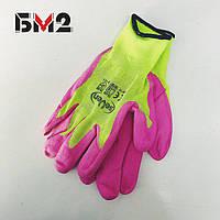 Перчатки женские синтетические с неполным латексным покрытием ТМ Seven
