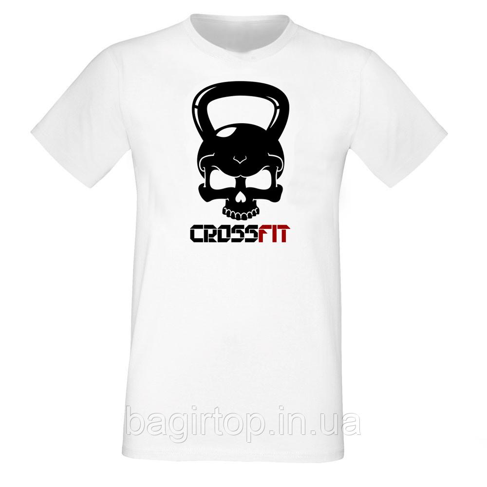 Мужская белая футболка - CROSSFIT