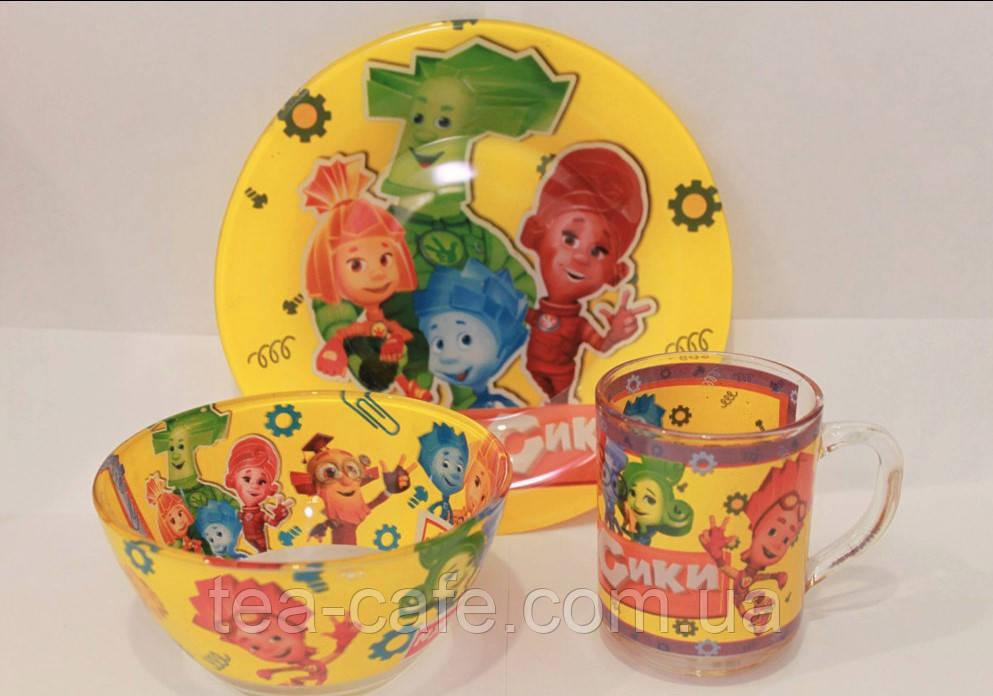 Детский набор посуды Фиксики (стекло) 3 предмета