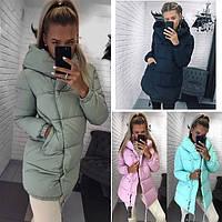 Женская модная стильная куртка с капюшоном 42, 44, 46, мята, розовый, 90609714bd1