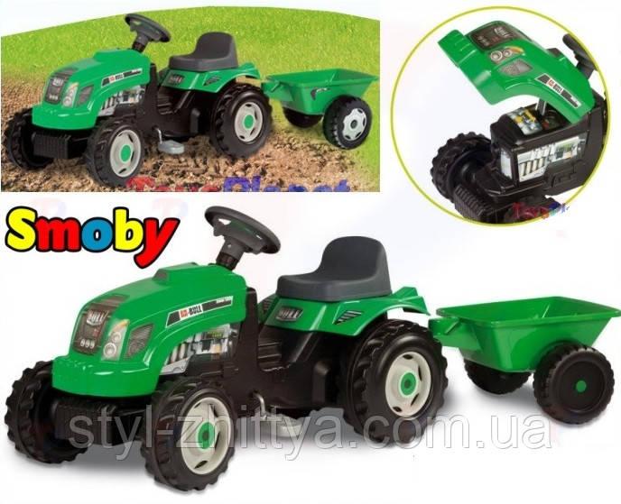 Трактор педальний, дитячий Smoby з причепом