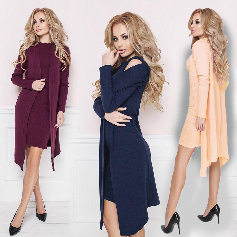 Комплект короткое платье и кардиган из ангоры sh-013 (42-56р, разные цвета)