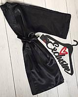 Черный атласный женский халат