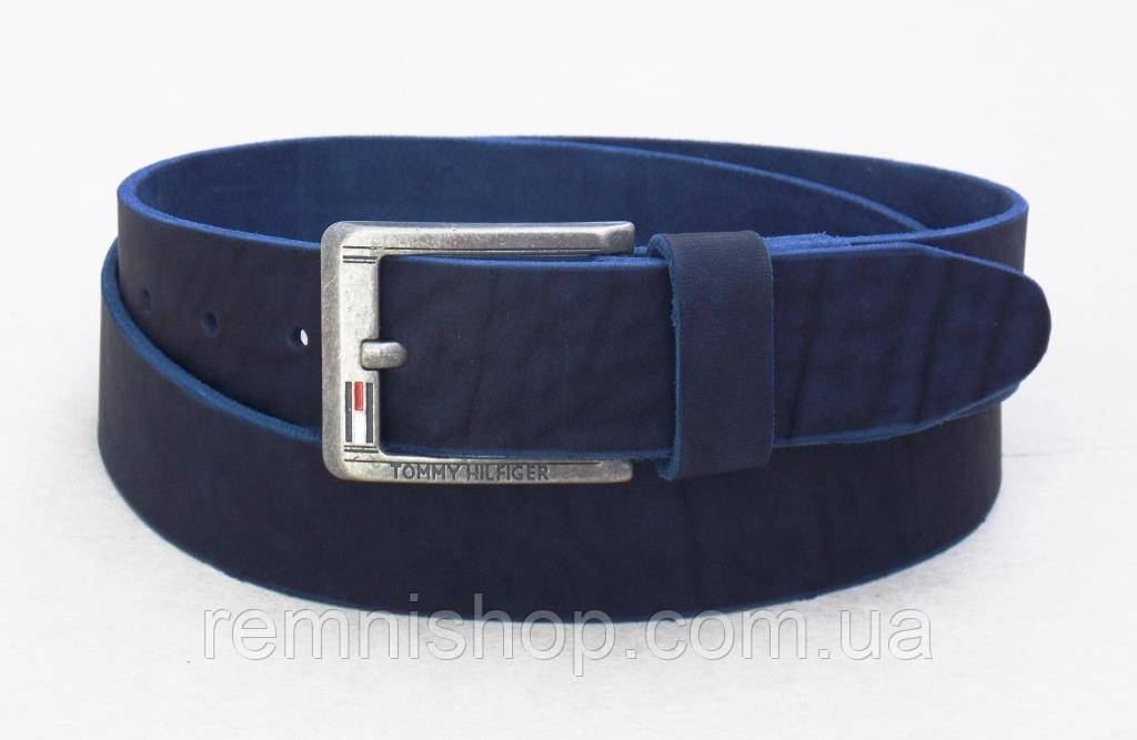 Кожаный мужской синий ремень Томму