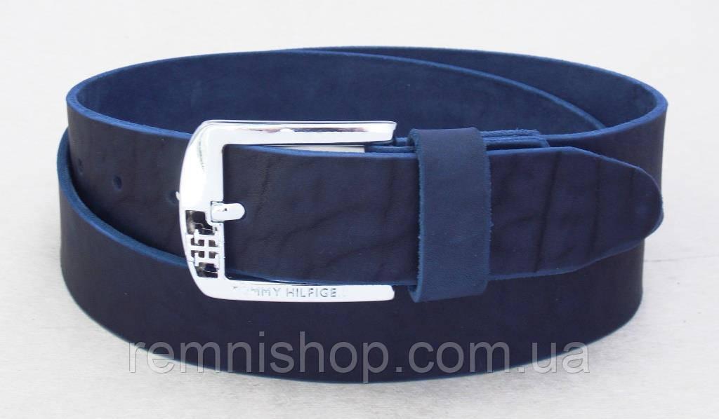 Кожаный мужской ремень Томму синий