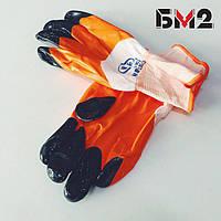 Перчатки синтетические белые с оранжевым  нитриловым покрытием