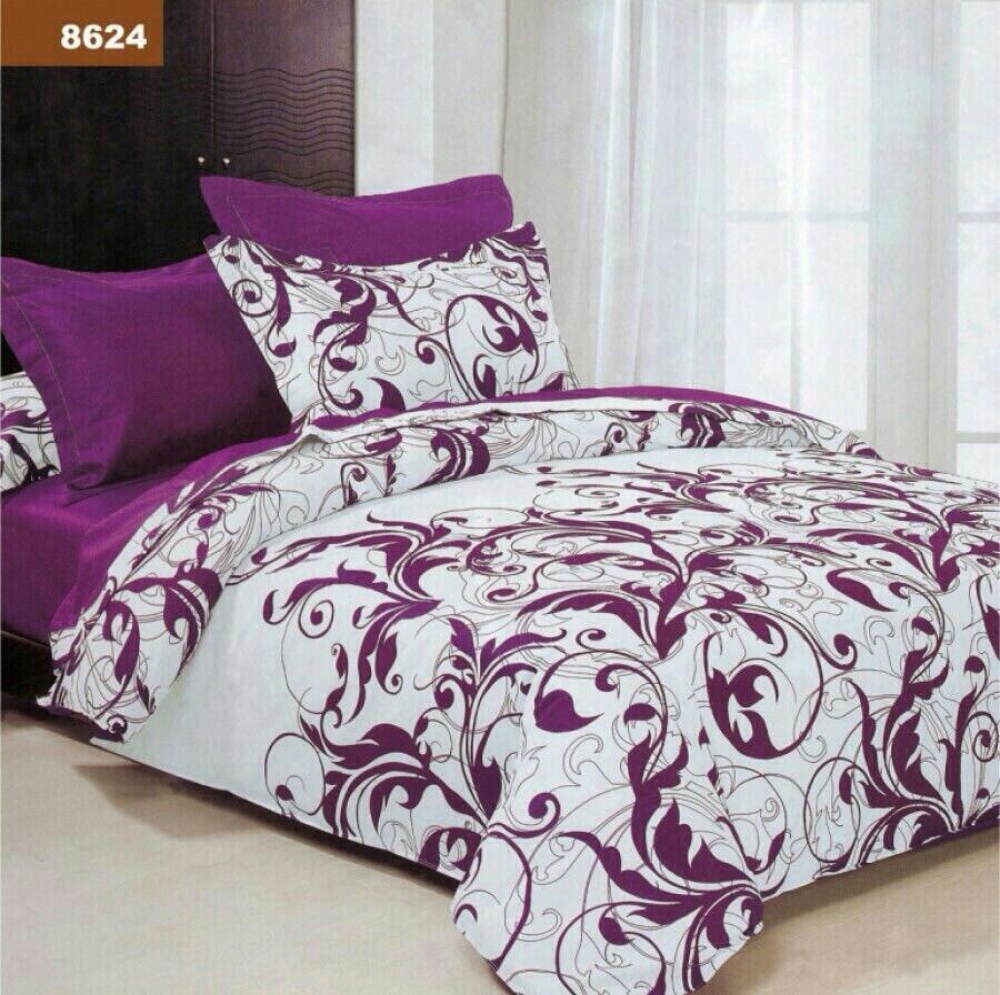 Комплект двуспального постельного белья Малиновый завиток