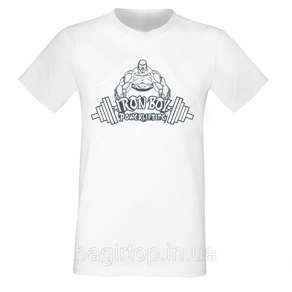 Мужская белая футболка - Iron boy powerlifting