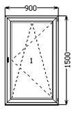 Окно поворотно-откидное 900х1500 на кухню в 9ти - 16ти этажный дом в Николаеве