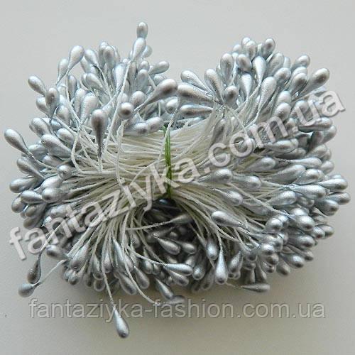 Тычинки для цветов Люкс серебряные, 40 штук