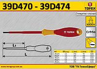 Отвертка диэлектрическая шлицевая 2.5мм,  TOPEX  39D470