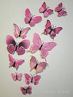 Объемные 3D бабочки на стену (обои) для декора (светло-розовые)
