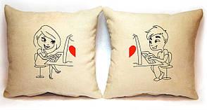 """Набор из двух подушек Slivki """"Любовь в сети"""", цвет бежевый"""