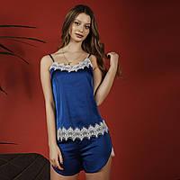 Женская шелковая пижама с кружевом (электрик) 818f7e90a3145