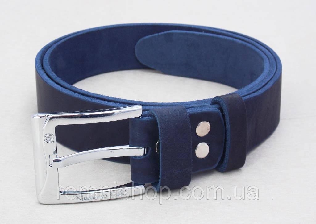 Мужской кожаный синий ремень Massimo Dutti