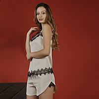 Женская шелковая пижама с кружевом (молочная) 7c3d929c7f3ad
