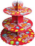 Стенд трёхъярусный картонный круглый для капкейков красного цвета (шт)