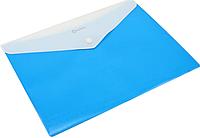 Папка конверт непрозрачная А4 на кнопке Оптима, 180 мкм фактура ПОЛОСА синяя O31315-02