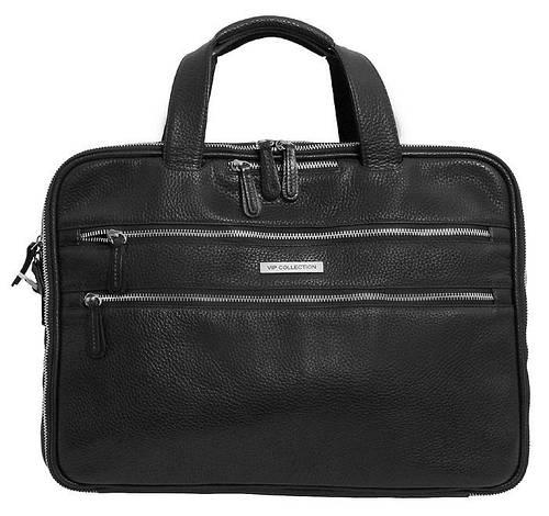 Кожаная сумка для ноутбука до 15.6 дюймов, VIP COLLECTION 37922A flat черный