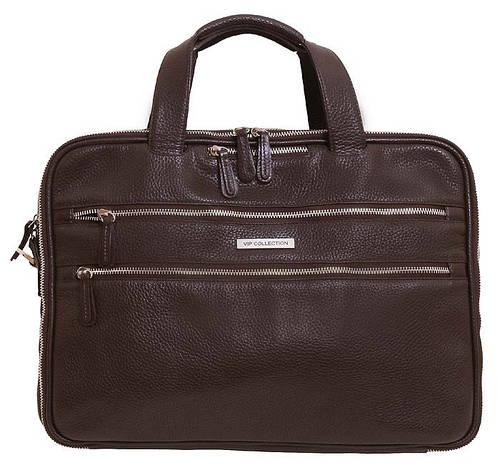 Кожаная сумка для ноутбука до 15.6 дюймов, VIP COLLECTION 37922B flat, коричневый