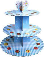 Стенд трёхъярусный картонный круглый для капкейков голубого цвета (шт)