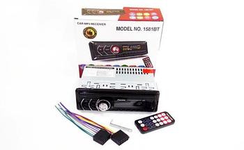 Автомагнитола 1DIN MP3-1581BT RGB/Bluetooth подсветка+Fm+Aux+ пульт (4x50W) универсальная