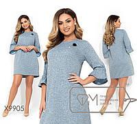 Платье-мини прямого кроя из трикотажа-петля. Большие размеры. Разные цвета.