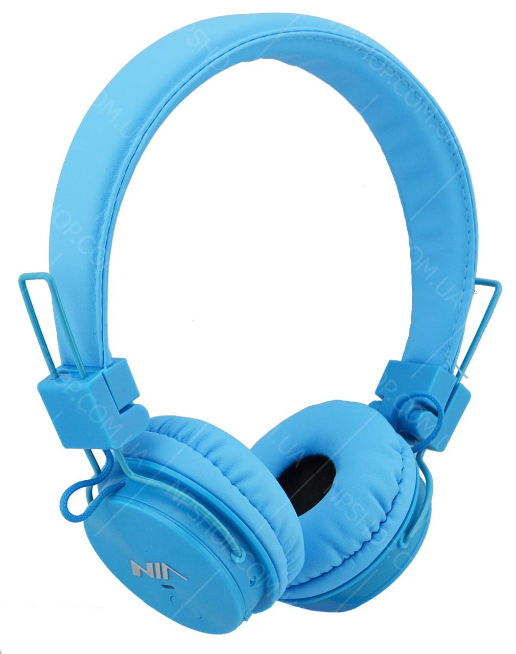 Беспроводные Bluetooth стерео наушники NIA X3 с МР3 и FM синие