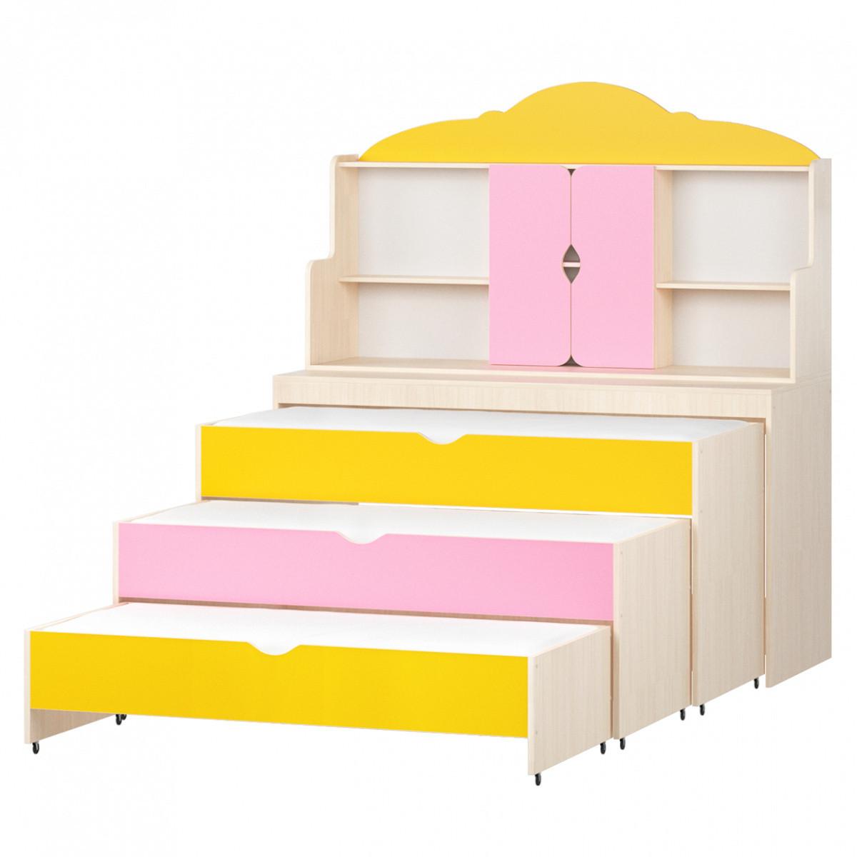 Кровать тумба с надстройкой  3-Х ярусная выкатная