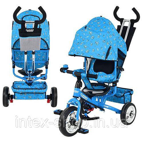 Трехколесный велосипед Profi Trike М 5361-1 (надувные колеса) Голубой
