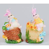 Декоративная свеча кролик на корзине