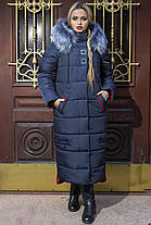 Зимнее Теплое длинное пальто пуховик размеры 48 до 58 с капюшоном, фото 2