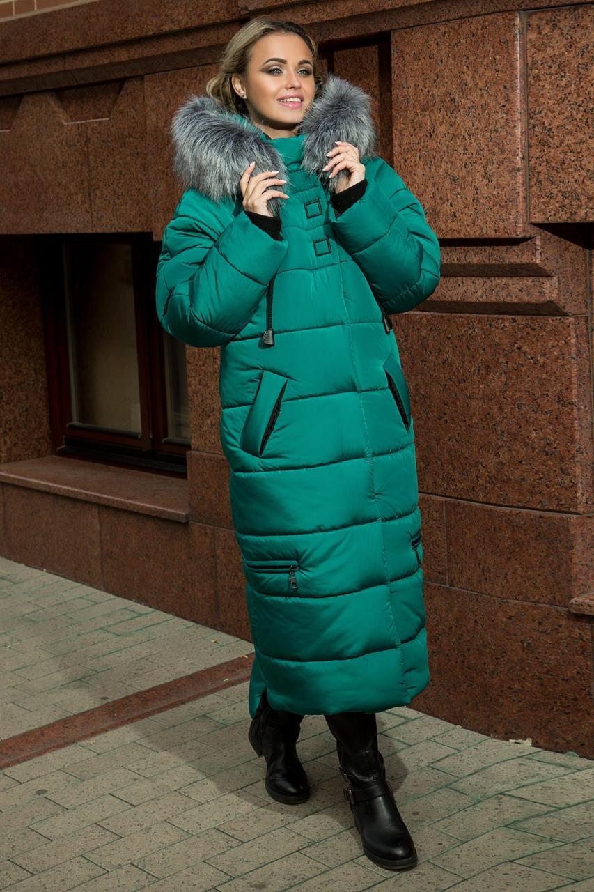 Зимнее Теплое длинное пальто пуховик размеры 48 до 58 с капюшоном