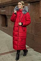 Зимнее Теплое длинное пальто пуховик размеры 48 до 58 с капюшоном, фото 3