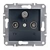 TV-R-SAT розетка концевая (1dB) Schneider Electric Asfora Антрацит