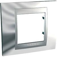 Рамка одноместная Schneider electric Unica TOP Metall(металическая) блестящий хром/алюминий