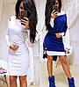 Короткое платье двойка с накидкой из ангоры sh-009 (42-56р, разные цвета), фото 3