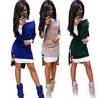 Короткое платье двойка с накидкой из ангоры sh-009 (42-56р, разные цвета)