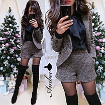 Шикарный костюм букле пиджак+шорты с карманами, размеры 42-44 и 44-46, фото 3