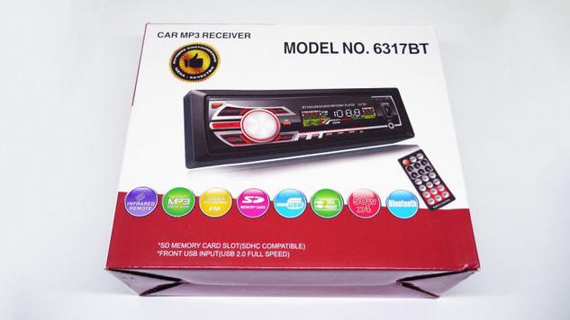 Ма гнитола в машину 1DIN MP3-6317BT RGB/Съемная панель - Usb+RGB подсветка+Fm+Aux+ пульт