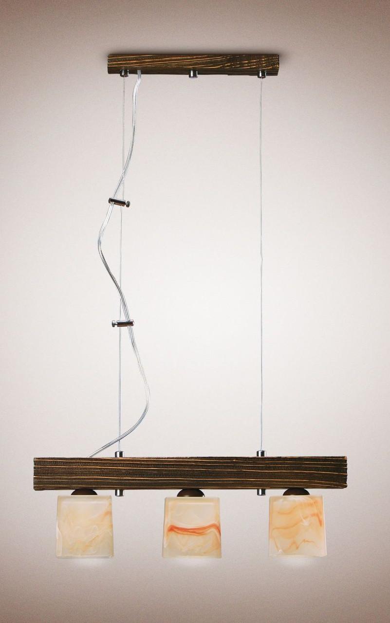 Люстра деревянная на тросах для кабинета, прихожей, кухни 233