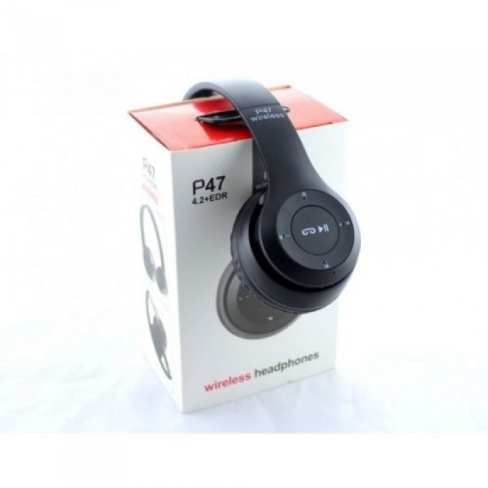 Беспроводные Наушники P-47 Bluetooth + MicroSD + FM Радио чёрные ... deec2505721c9