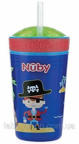 """Поильник NUBY """"Пират"""" с силиконовой трубочкой и отделением для снеков, 270 мл"""