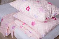 Детский комплект стеганый покрывало, одеяло размер 105х140 см, подушка 40х60 см розовый