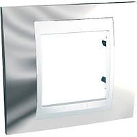 Шнайдер электрик Уника ТОП(Shneider electric Unica TOP Metall) рамка однопостовя Хром блестящий/белый