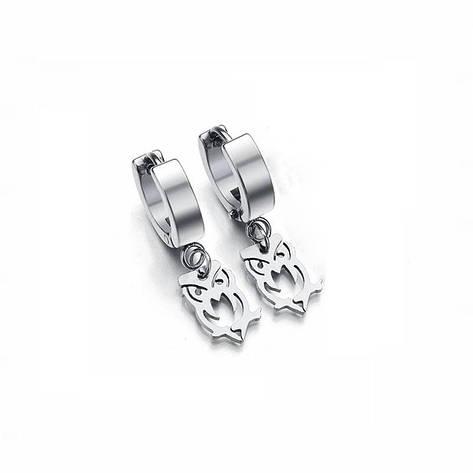 Серьга-кольцо - SP-35 - с подвеской-совой, фото 2
