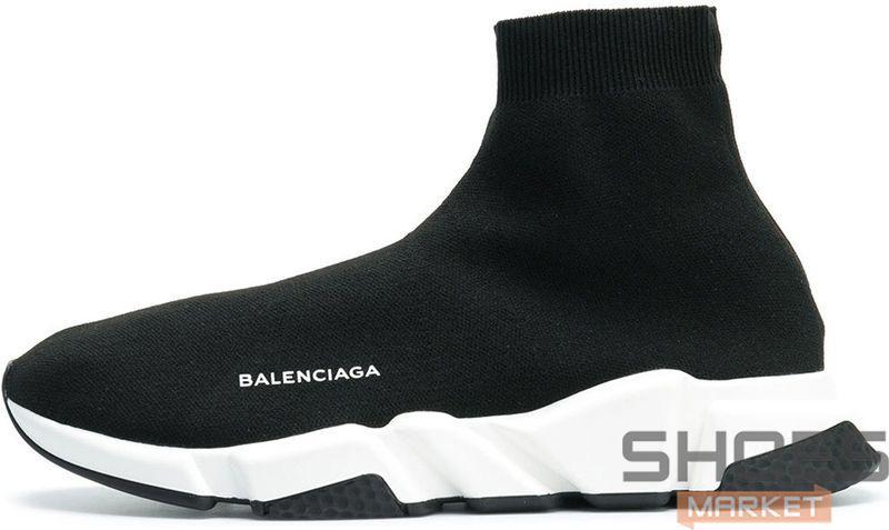 Мужские кроссовки Balenciaga Speed Trainer Black/White 530349 W05G9 1000