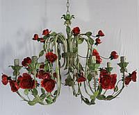 Люстра флористика кованая цвееты 8 рожков